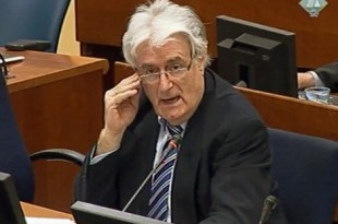 """A screen grab taken from the internet site of the ICTY shows former Bosnian Serb leader Radovan Karadzic speaking at the court in The Hague on October 16, 2012.  A strident Radovan Karadzic told the UN Yugoslav war crimes court Tuesday that nobody thought there would be genocide in Bosnia and that he should be rewarded for doing all to avoid war. RESTRICTED TO EDITORIAL USE - MANDATORY CREDIT """"AFP PHOTO / COURTESY OF THE ICTY"""" - NO MARKETING NO ADVERTISING CAMPAIGNS - DISTRIBUTED AS A SERVICE TO CLIENTS"""